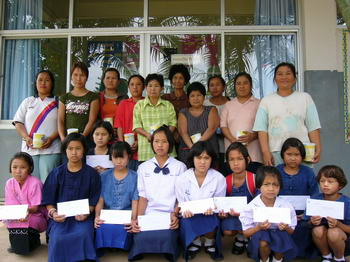 May 2006 Scholarship Distribution at the new Chiangdao school building.